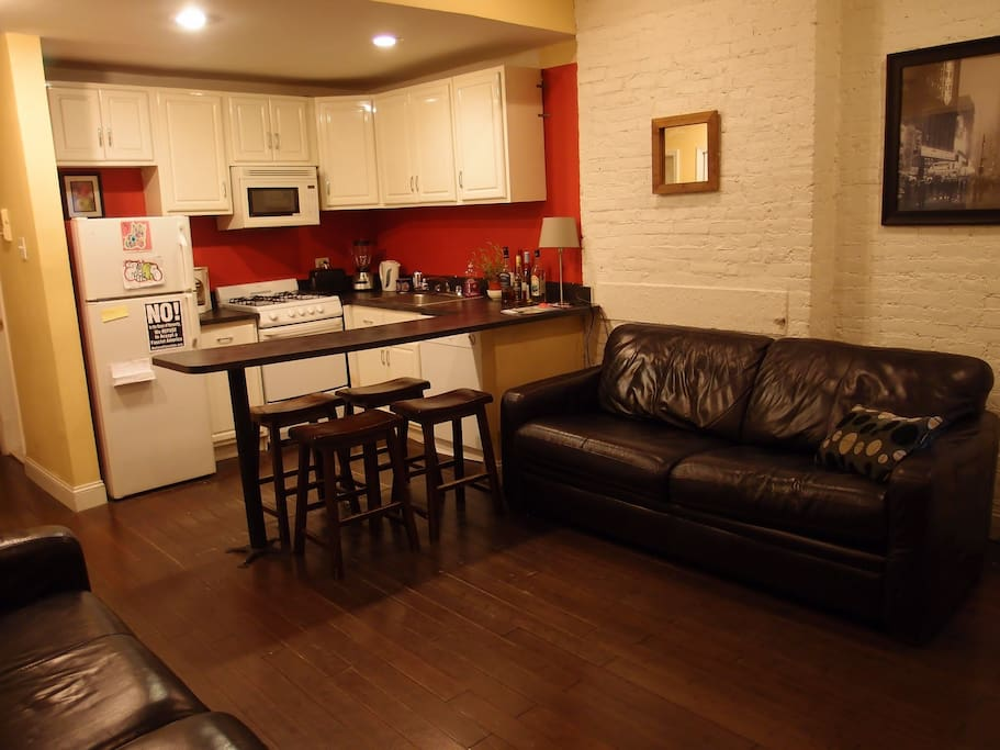 Big couches, Flat TV, Fully Equipped Kitchen