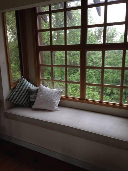 Cozy window seat.
