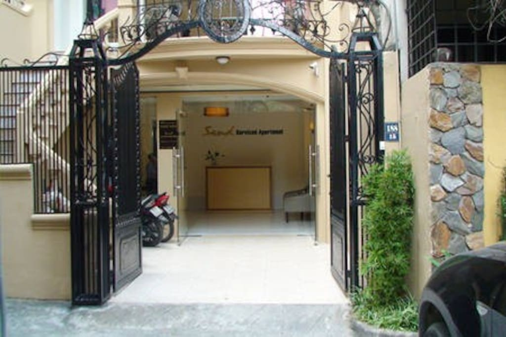 front gate of the building with 24 hours security guard