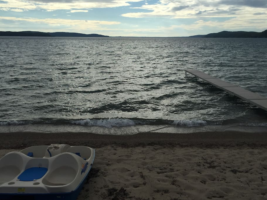 Private 50 foot sandy beach on Crystal Lake's east shore-paddle boat included