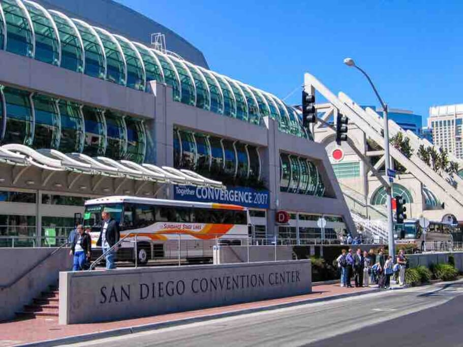 Convention center is 15 minutes walk (0.8 mile)
