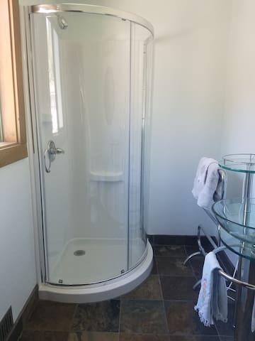 Sleek new shower.