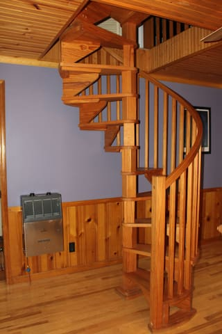Spiral stairs to Master Suite
