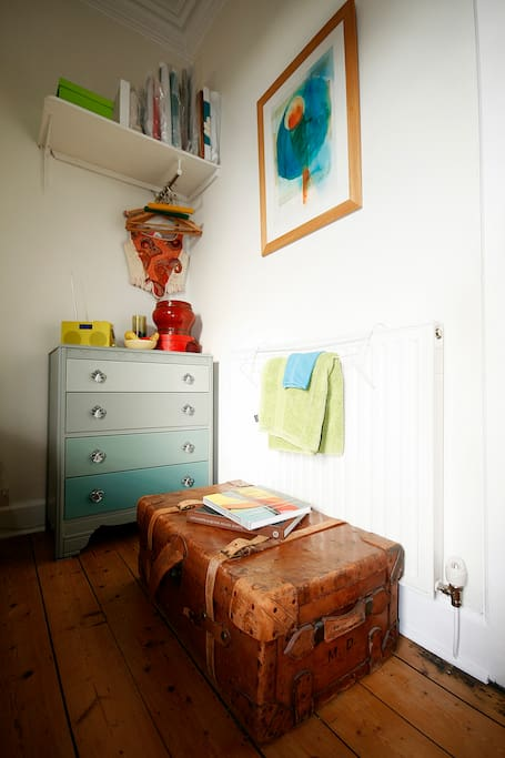 Details of drawers, hanging area & vintage trunk