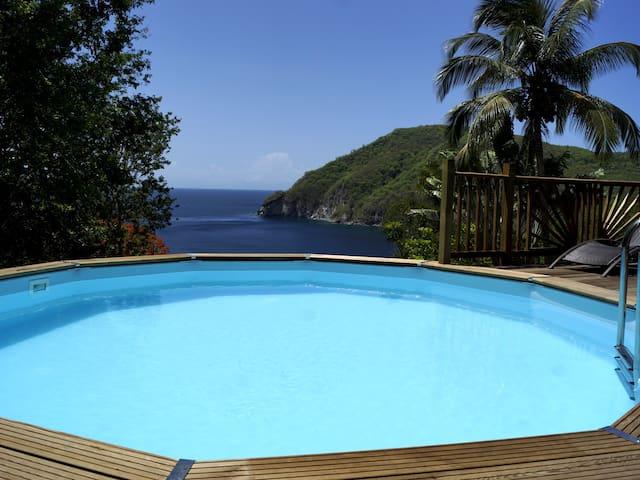VILLA PALMA Deshaies avec piscine privée - vue mer