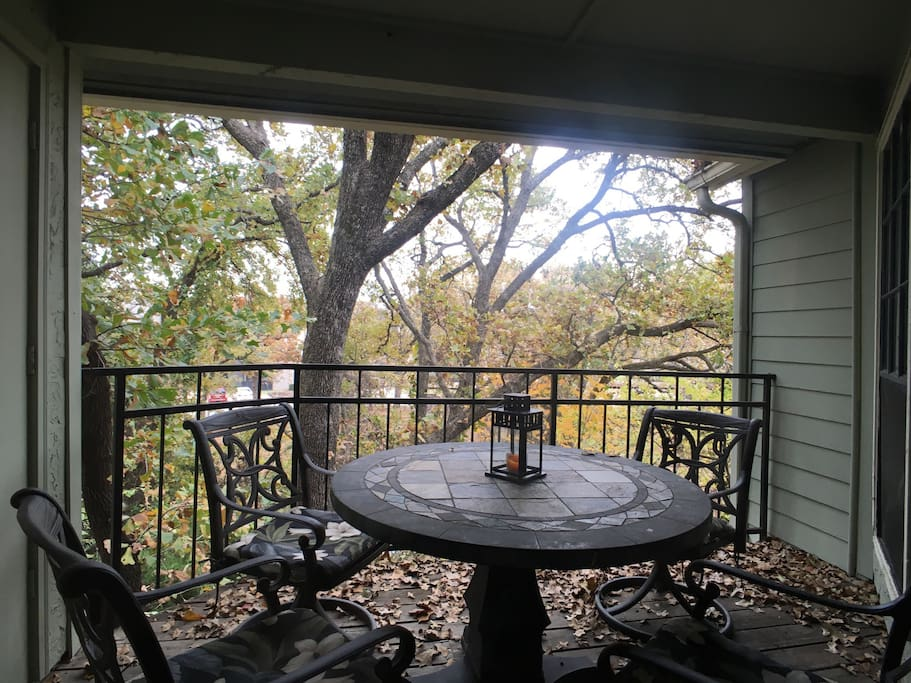 The patio overlooking trees