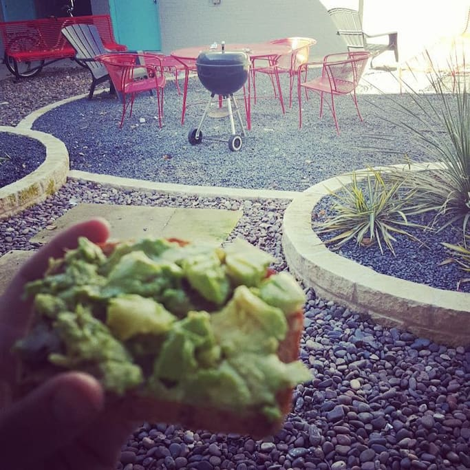 Enjoy breakfast and coffee in the courtyard, just steps from the front door. Avocados not included, but I will be sure to set out some coffee!