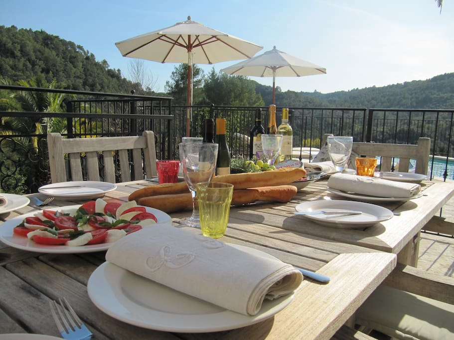 Enjoy dining overlooking a conservation area