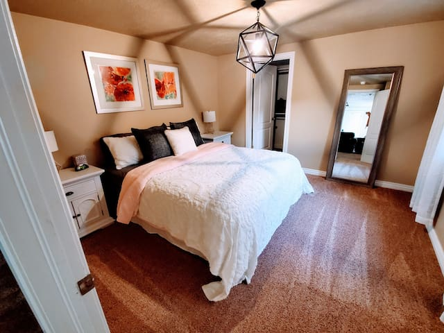 Bedroom 1, cal king bed with walk in closet