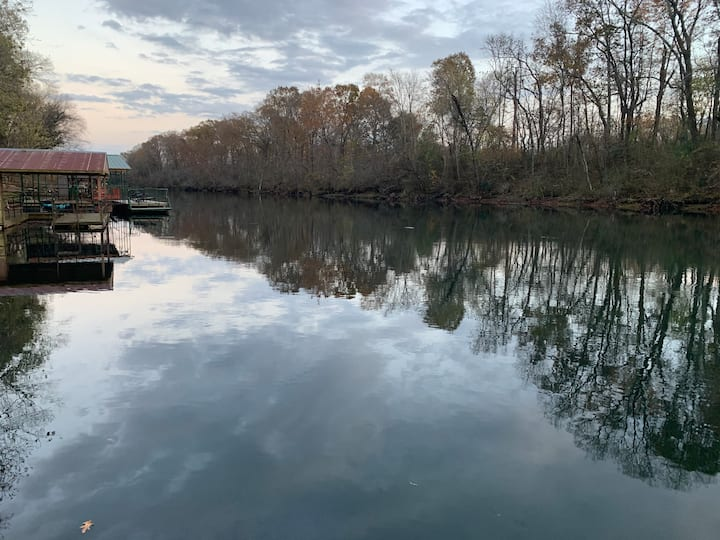 Riverfront sleeps 12!  Quiet, relaxing river oasis