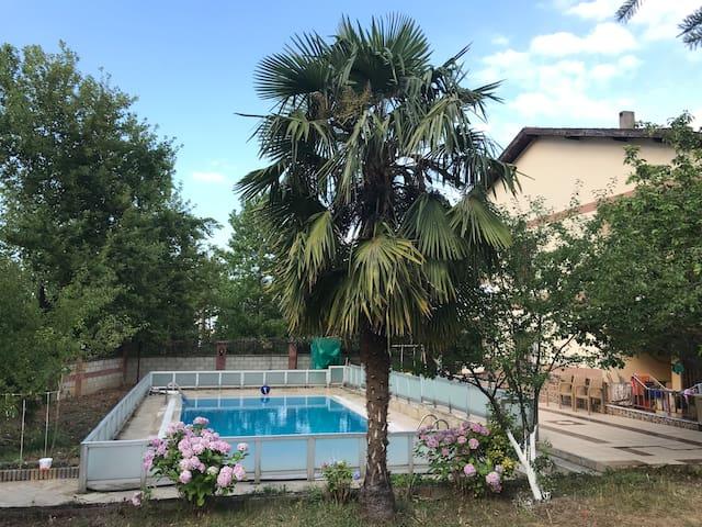 yarı olimpik yüzme havuzulu bahçeli müstakil ev