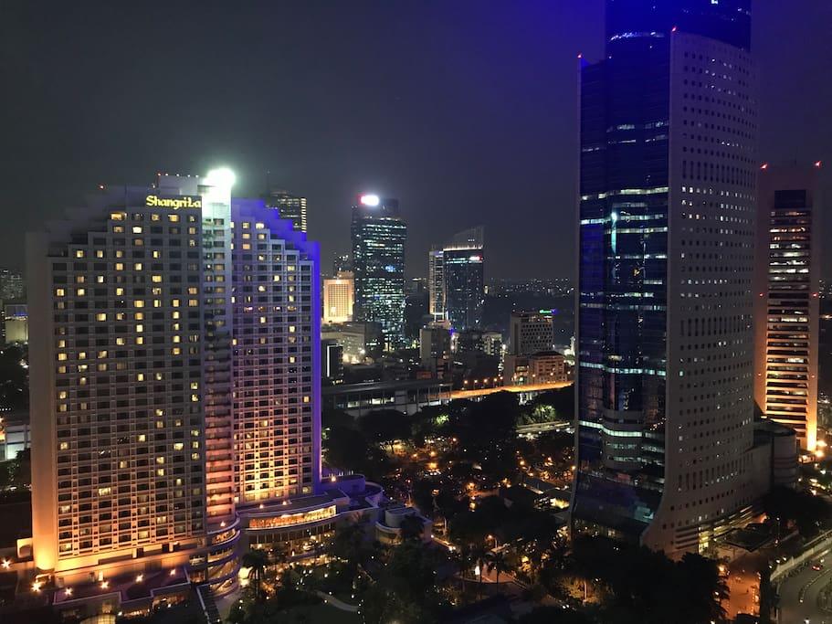 View from balcony overlooking Shangrila Hotel