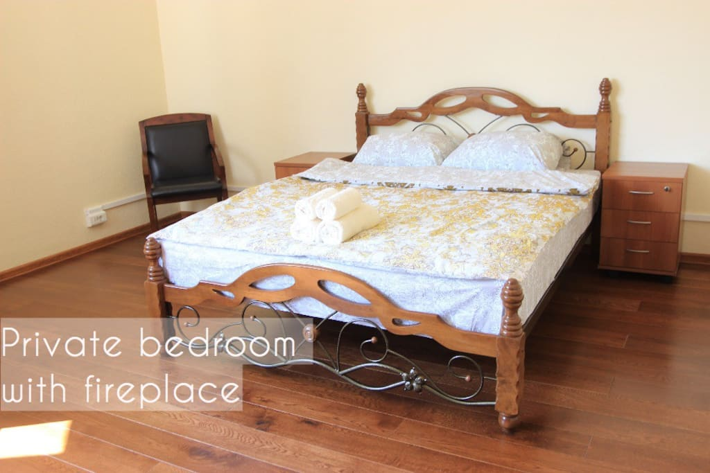 Double bed, 2 nightstands, table, 2 chairs