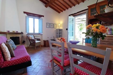 Warm chestnut beams, cool terracotta floors, relax