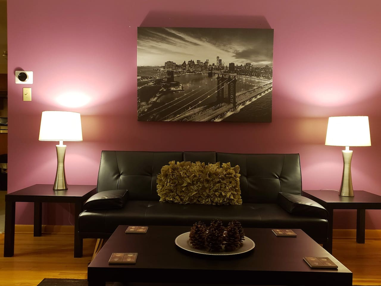 We've painted our living room with a splash of purple for your visual delight and pleasure.