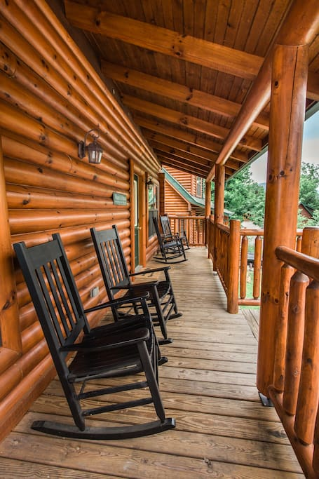 Relax in the rocking chairs on the front deck