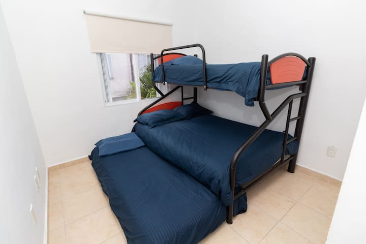 Floor 2 - Room 3: Bunk Beds with Trundle (1 Double, 2 Singles)