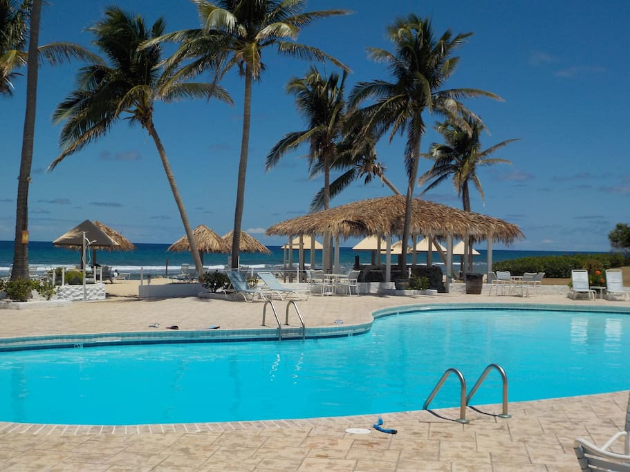 Large beachfront swimming pool with spacious sundeck and poolside Beach Shack bar