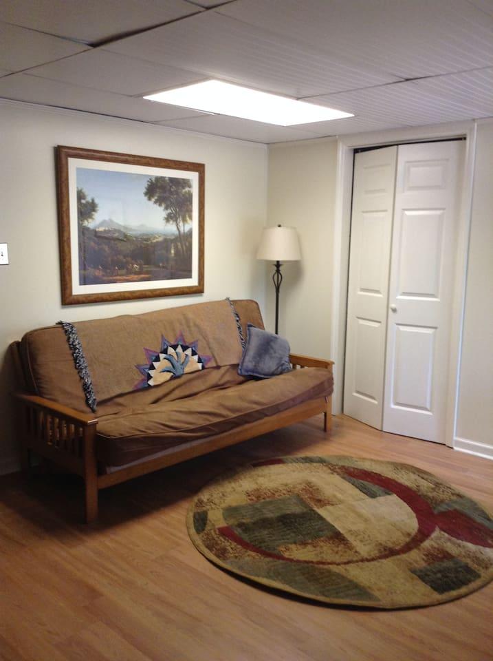 Extra futon in dining area