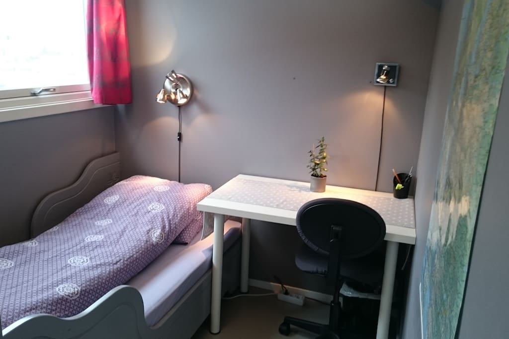 Alcove with desk and chair. Free Wi-Fi