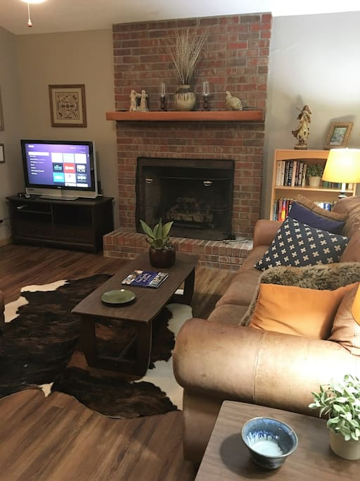 Our Living Room with a gas fireplace for those chilly nights in our mountains.