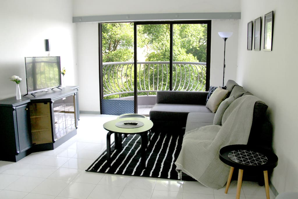 Modern living space with sofa bed