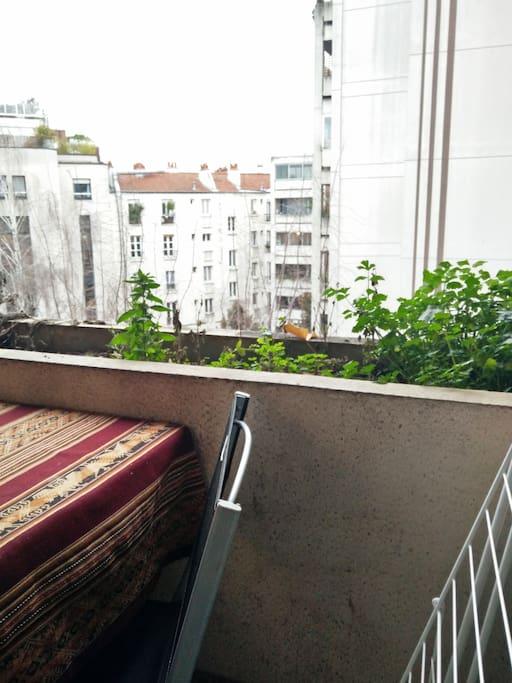 Balcon sur cour calme et arborée