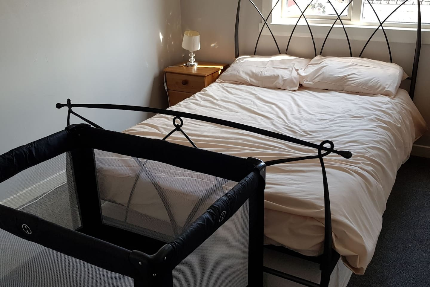 Room for a travel cot in the bedroom