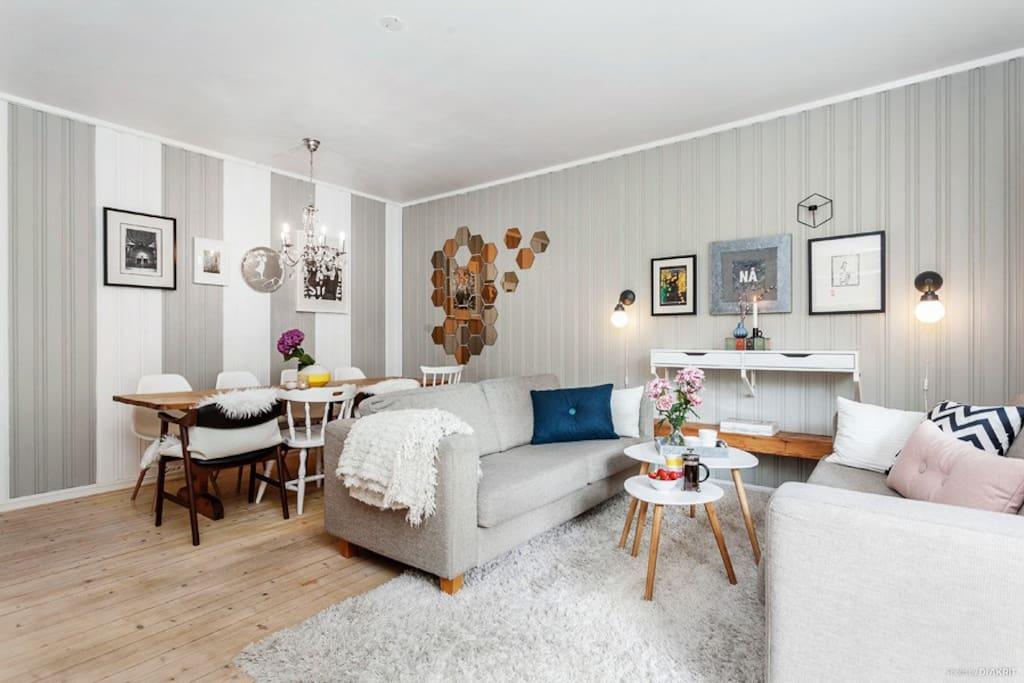 Stue (sofaen er byttet ut med en hjørnesofa som 2 personer kan sove på)