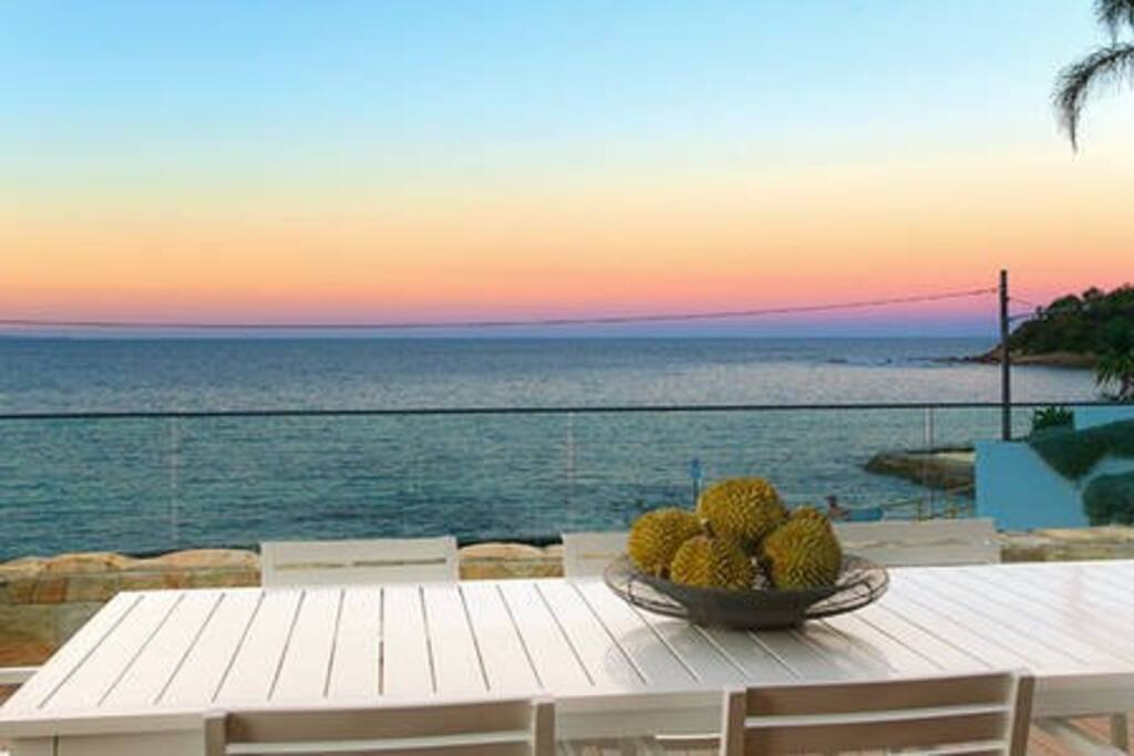 Sunset, outdoor dining