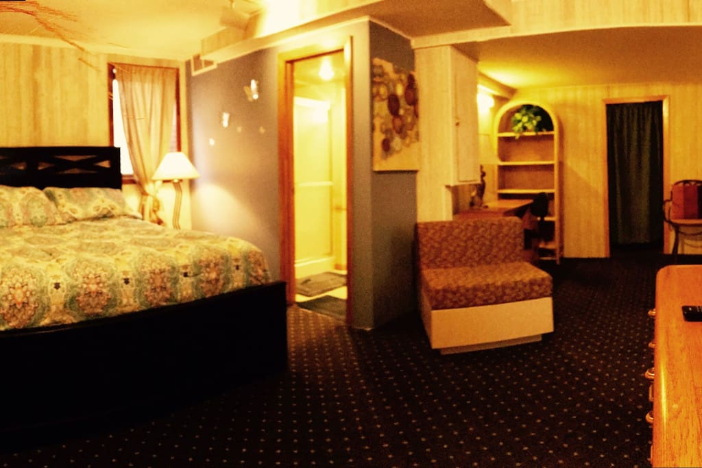 Panoramic view of the bed room and bath