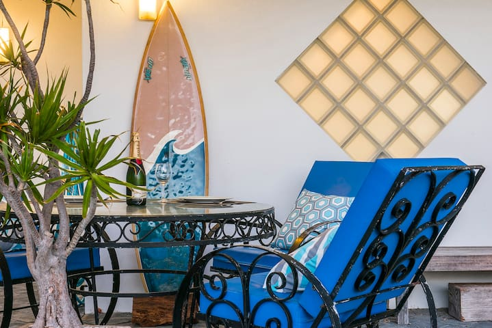 Own wrought iron glass table for dining
