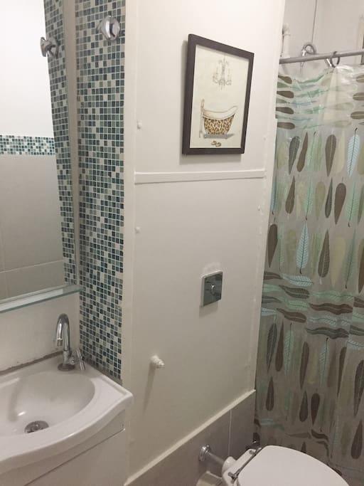 Banheiro reformado.