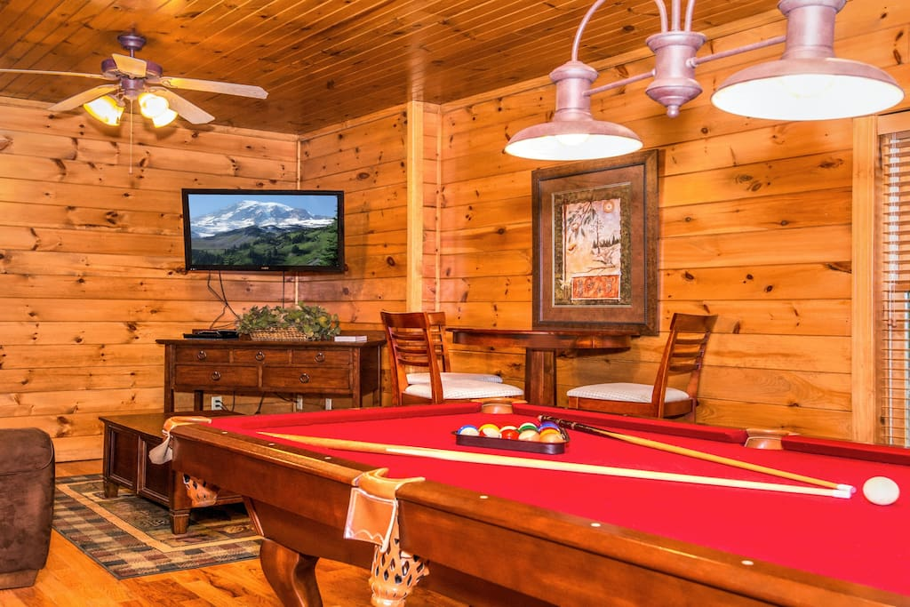 Family room / game room down stairs - pictured is pool table and LCD TV