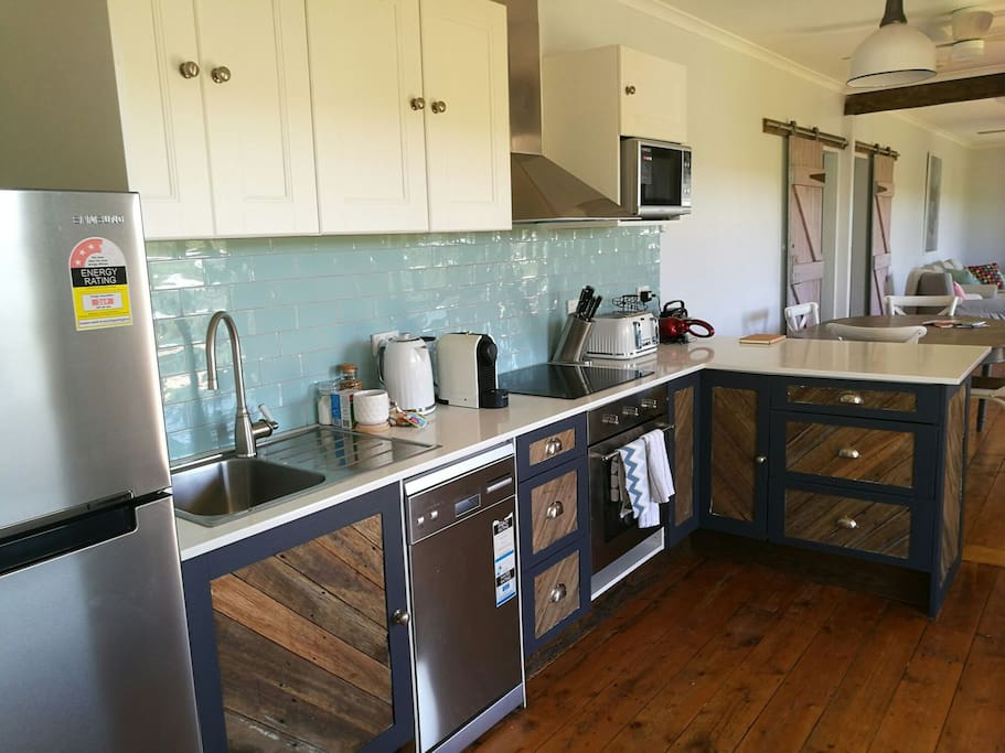 Hand made kitchen from recycled wood from the property