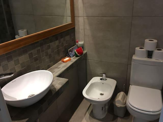 Baño completo con sistema de canillas monocomando, sanitarios DECA y bacha Piazza. Gran espejo de lado a lado. Todo nuevo.