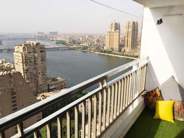 Panoramic Nile view Bedroom in Zamalek, Cairo