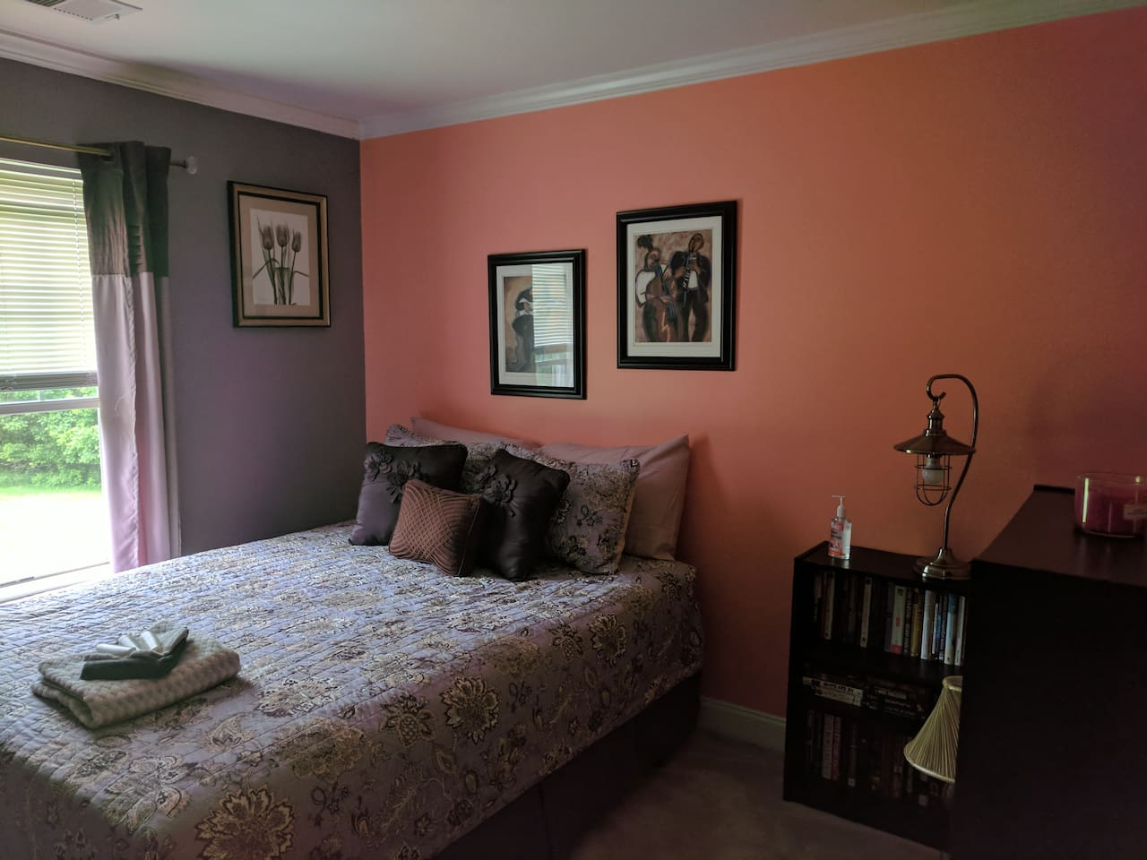 Guestroom #3 is a standard size bedroom with a small closet. It has great character and faces the woods.