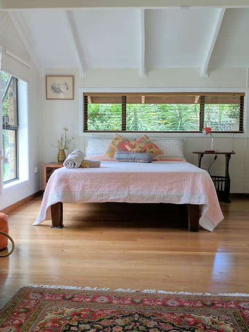 Bedroom 3 upstairs with yoga space.