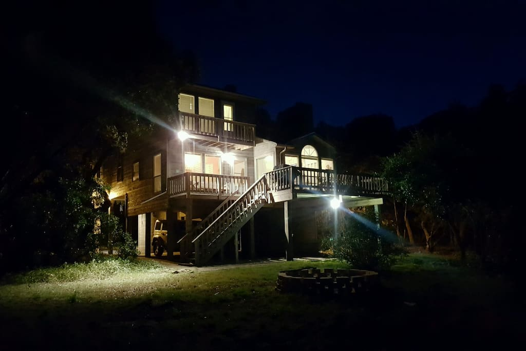 Back of the house at night
