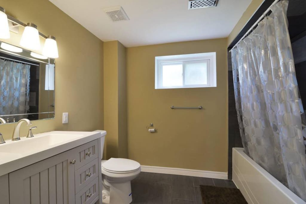 Private large washroom (only shared with another guest in  Bedroom2)