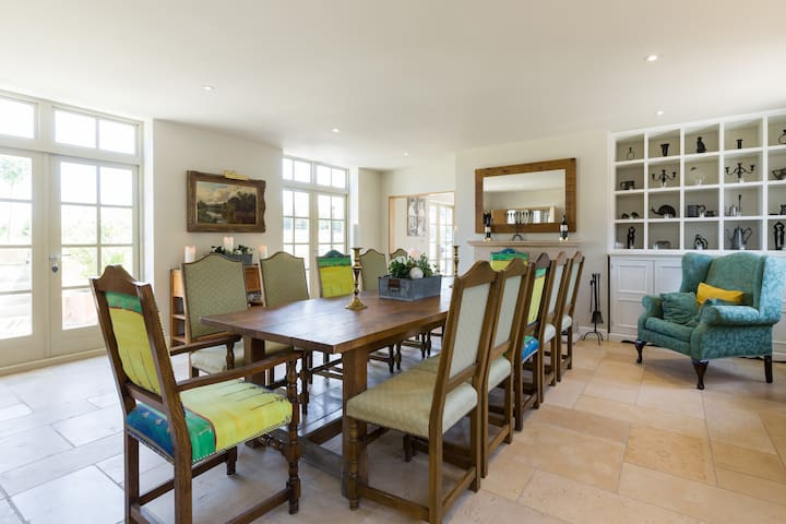 Dining table laid for 12 people