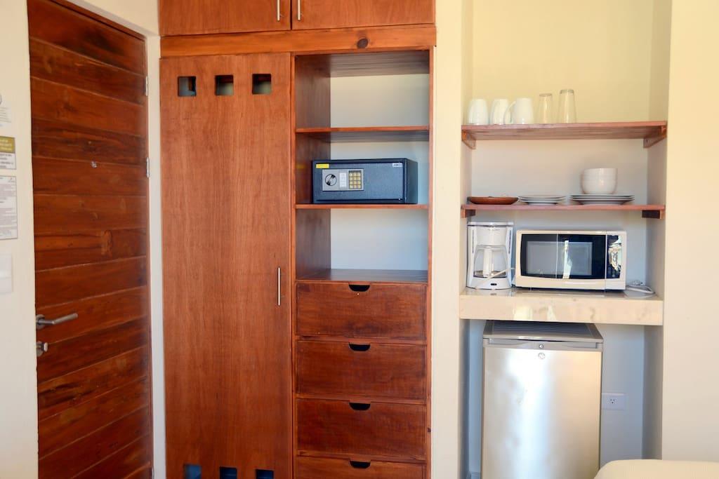 Closet, Safe Box, Mini-fridge & Microwave