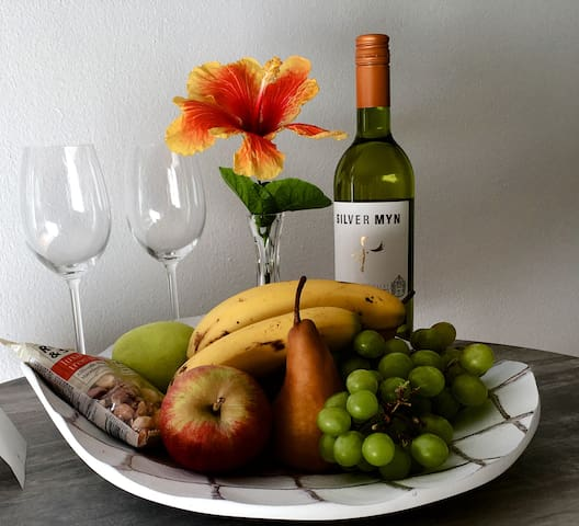 Welcome bottle of wine, fruit and nibbles for all our guests to enjoy.
