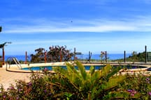 Panoramic views over the sea from pool