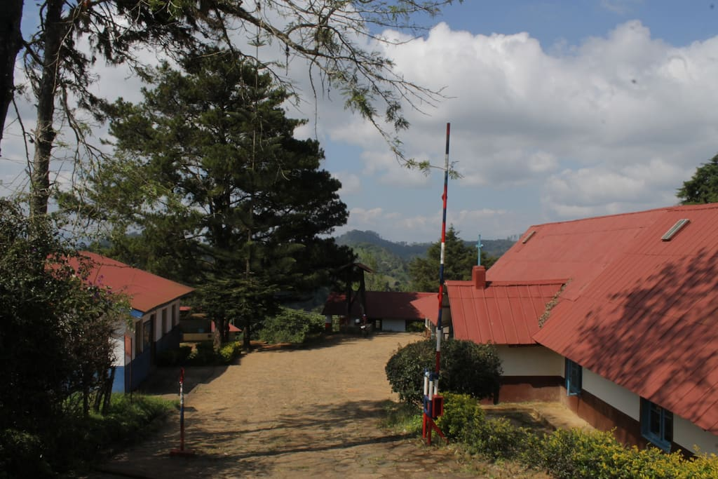 left side guesthouse, right side church