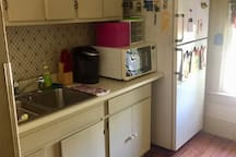 Large refrigerator, microwave and Keurig coffee maker are available for use throughout your stay. We also provide fully stocked cabinetry with everything needed to serve a meal.