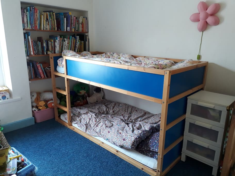 bunkbeds, top mattress  can go on floor if preferred