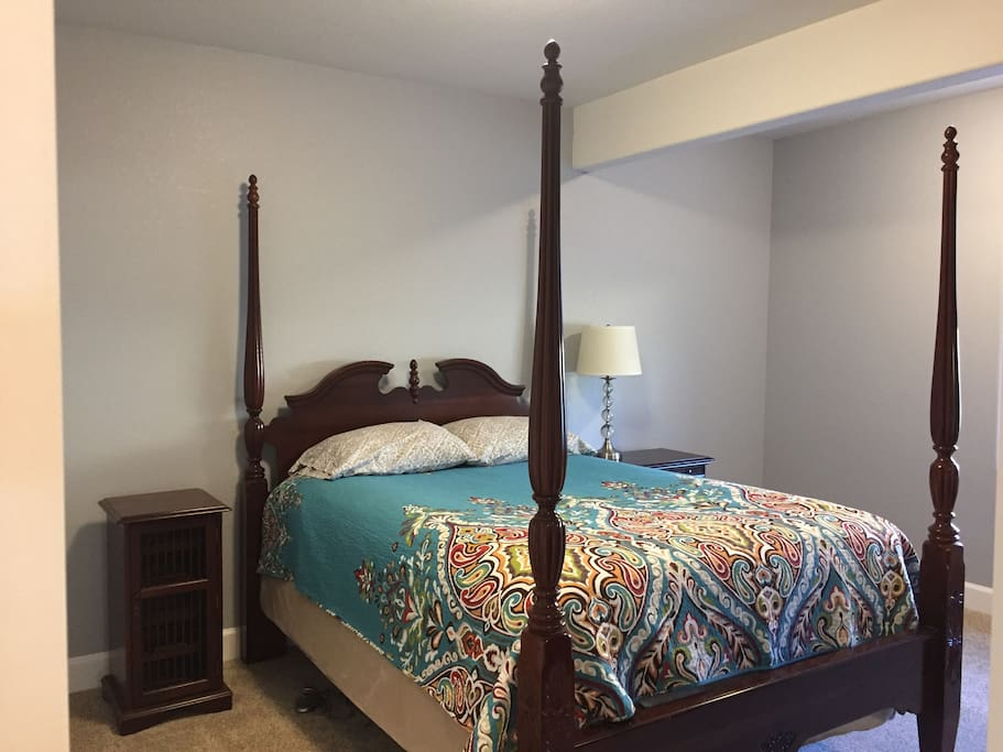Master bedroom with queen size bed. Mattress warmer for winter.