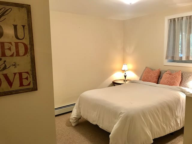 Double bed with large closet.
